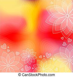 corações, flores, fundo
