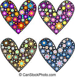 corações, flores