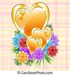 corações, flores, ouro
