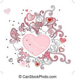 corações, forma, abstratos, contorno