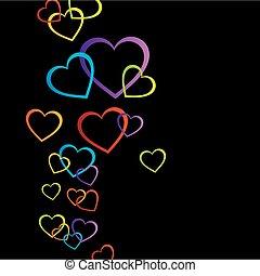 corações, fundo, coloridos