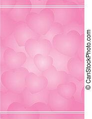 corações, fundo, cor-de-rosa