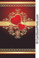 corações, gótico, ornamento