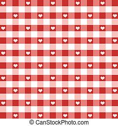 corações, gingham, seamless, padrão