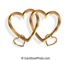 corações, gráfico, ligado, ouro, 3d