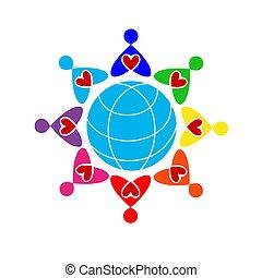 corações, homens, colorido, globe., ao redor