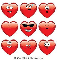 corações, jogo, nove, caricatura