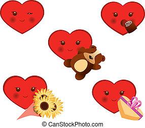 corações, jogo, valentine