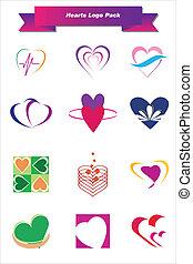 corações, logotipo, pacote