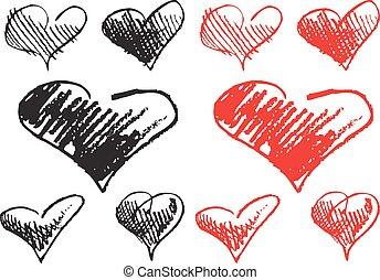 corações, mão, desenhado