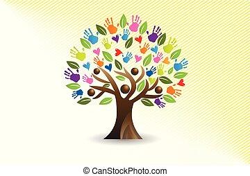 corações, mãos, árvore, logotipo