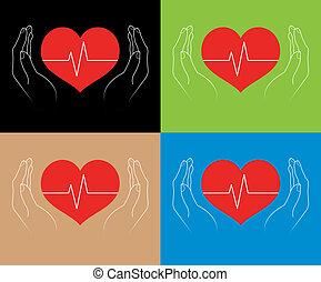 corações, mãos humanas