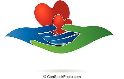 corações, mãos, logotipo