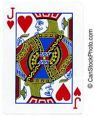 corações, -, macaco, cartão jogando