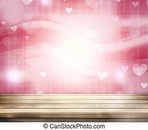 corações, madeira, fundo