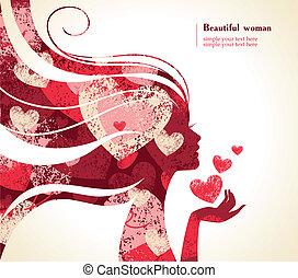 corações, menina, silueta, bonito