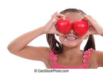 corações, menininha, segurando, retrato