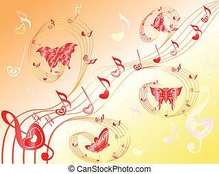 corações, notas, aduela, borboletas, musical