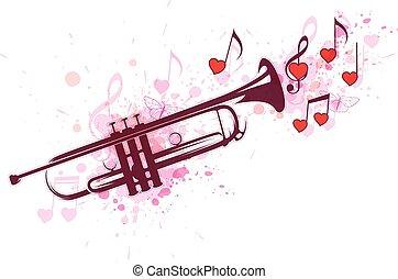 corações, notas, trompete, vermelho