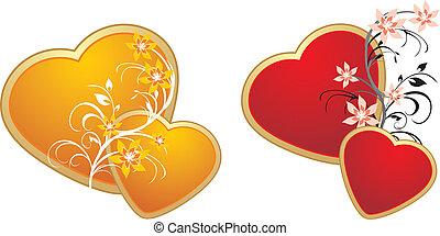 corações, ornamento, vermelho, ouro