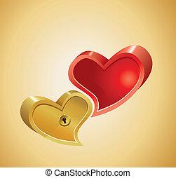 corações, ouro, fundo, vermelho