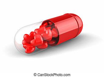 corações, pílula branca, enchido, vermelho