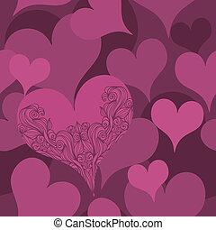 corações, padrão, seamless