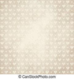 corações, papel, antigas, fundo