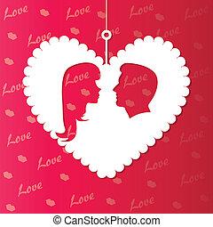 corações, papel, silueta, amante