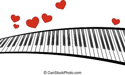 corações, piano, modelo