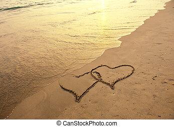 corações, praia, dois, desenhado