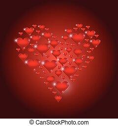 corações, projeto fixo, vermelho, ilustração