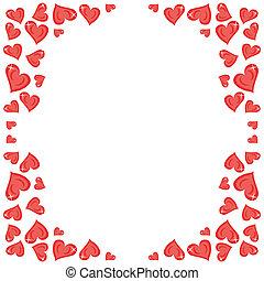 corações, quadro, branco vermelho