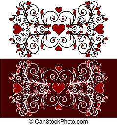 corações, quadro, flor