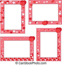 corações, quadro, vermelho