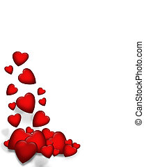 corações, queda, borda, valentine