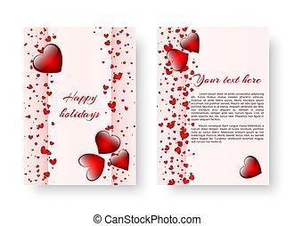 corações, romanticos, fundo, vermelho