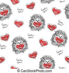corações, seamless, fundo, ouriço