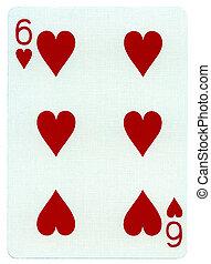 corações, seis, -, cartão jogando