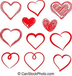 corações, set., vetorial, drawn., mão