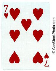 corações, sete, -, cartão jogando