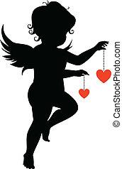 corações, silueta, anjo