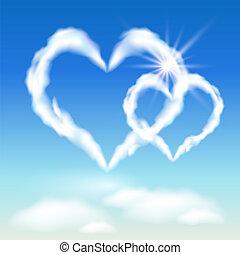 corações, sol, nuvem