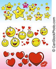corações, sorrindo, sorrizo, estrelas