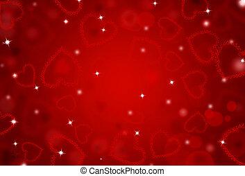 corações, st.valentine, fundo, vermelho