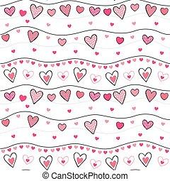 corações, valentine, padrão