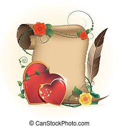 corações, valentines, antigas, pergaminho