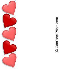 corações, valentines, borda, dia, 3d