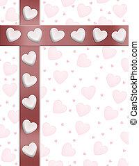 corações, valentines, borda, dia