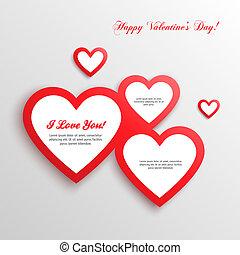 corações,  valentines, Dia, vermelho, cartão